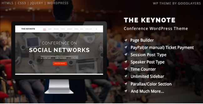 The Keynote - Conference Event Meeting WordPress Theme - Wootheme ...